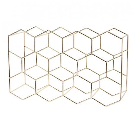 Suport din Metal Auriu, NAGO, pentru 11 Sticle Vin, model Fagure, 44.5x29.5x15cm, G 1.1kg0