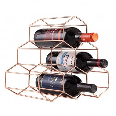 Suport metal fagure pentru 6 sticle vin culoare roz auriu  29Χ21Χ28 cm1
