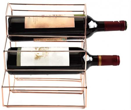 Suport metal fagure pentru 6 sticle vin culoare roz auriu  29Χ21Χ28 cm3