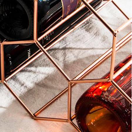 Suport metal fagure pentru 6 sticle vin culoare roz auriu  29Χ21Χ28 cm5