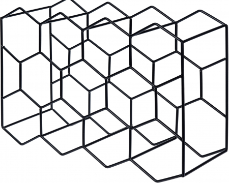 Suport pentru Sticlede Vin,model fagure din metal lucios, capacitate 11 Sticla, 44.5x29.5x15 cm, G1.1kg, Negru3