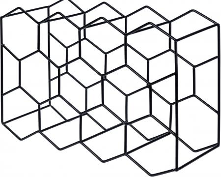Suport pentru Sticlede Vin,model fagure din metal lucios, capacitate 11 Sticla, 44.5x29.5x15 cm, G1.1kg, Negru0