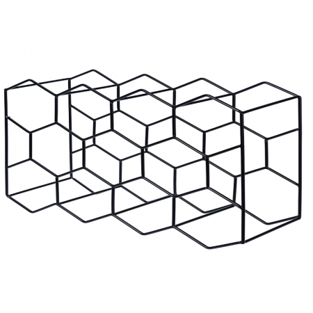 Suport pentru Sticlede Vin,model fagure din metal lucios, capacitate 11 Sticla, 44.5x29.5x15 cm, G1.1kg, Negru2