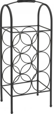 Suport metalic pentru Sticla Vin, model rastel, capacitatea 6 sticle, Negru,52x22x16cm G1.14kg3