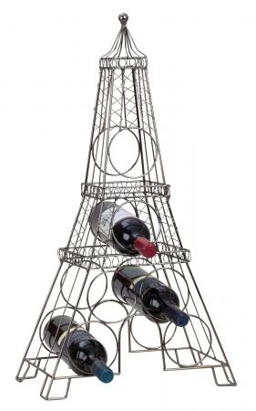 Suport din metal, pentru 6 Sticle Vin, model Turnul Eiffel, 72,5 cm0