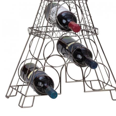 Suport din metal, pentru 6 Sticle Vin, model Turnul Eiffel, 72,5 cm3