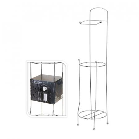 Suport metalic, pentru hartie igienica si role rezerva pe un piedestal, 15,5 x 15,5 x 66 cm4
