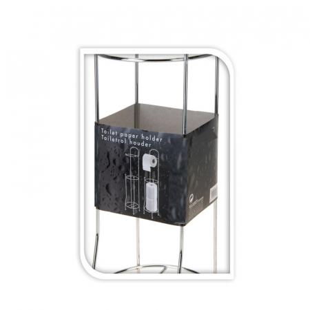 Suport metalic, pentru hartie igienica si role rezerva pe un piedestal, 15,5 x 15,5 x 66 cm3