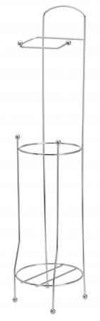 Suport metalic, pentru hartie igienica si role rezerva pe un piedestal, 15,5 x 15,5 x 66 cm2