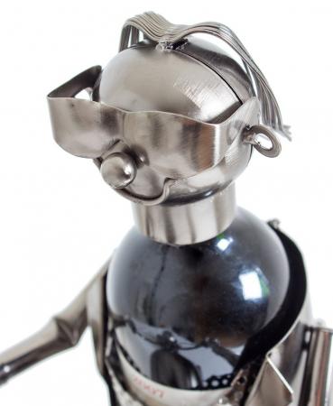 Suport metal pentru sticla vin, model motociclist, 36x 47 cm1
