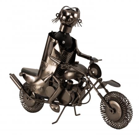 Suport metal pentru sticla vin, model motociclist, 36x 47 cm5