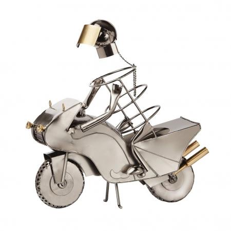 Suport metal pentru sticla vin motociclist H 35 cm2