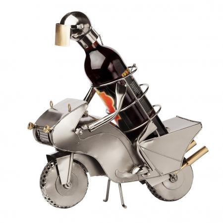 Suport metal pentru sticla vin motociclist H 35 cm0