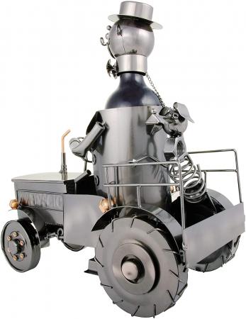 Suport metal pentru sticla vin, tractorist cu catel pe tractor 35,5x34 cm [2]