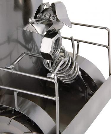 Suport metal pentru sticla vin, tractorist cu catel pe tractor 35,5x34 cm [3]