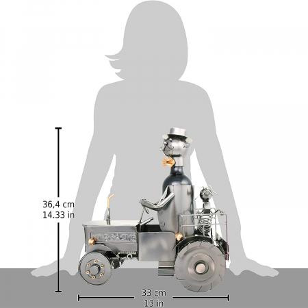 Suport metal pentru sticla vin, tractorist cu catel pe tractor 35,5x34 cm [6]