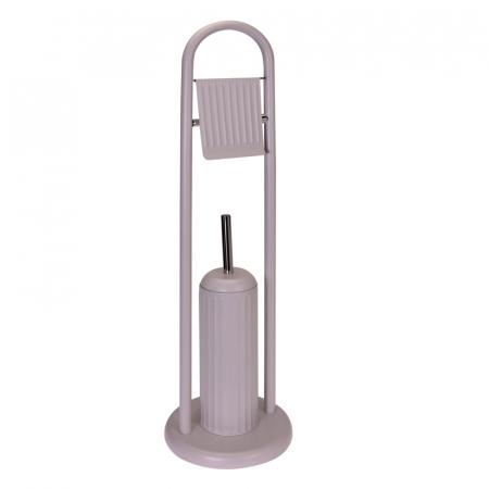 Suport metalic perie WC si hartie igienica, diametru 20cm x 80 cm, 2.3 kg, culoare Bej [4]