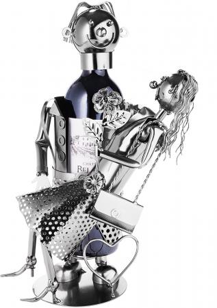 Suport Metalic pentru Sticla de Vin, model Cuplu de Indragostiti, Capacitate 1 Sticla, Negru/Argintiu, H 37 cm [0]