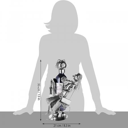 Suport Metalic pentru Sticla de Vin, model Cuplu de Indragostiti, Capacitate 1 Sticla, Negru/Argintiu, H 37 cm [7]