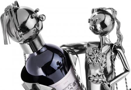 Suport Metalic pentru Sticla de Vin, model Cuplu de Indragostiti, Capacitate 1 Sticla, Negru/Argintiu, H 37 cm [6]