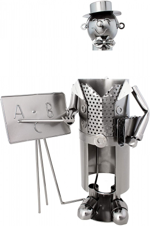 Suport Metalic pentru Sticla de Vin, model Profesor, Capacitate 1 Sticla, Negru/Argintiu, H 37x23.5cm2