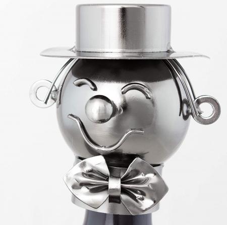 Suport Metalic pentru Sticla de Vin, model Profesor, Capacitate 1 Sticla, Negru/Argintiu, H 37x23.5cm1