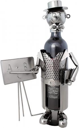 Suport Metalic pentru Sticla de Vin, model Profesor, Capacitate 1 Sticla, Negru/Argintiu, H 37x23.5cm0