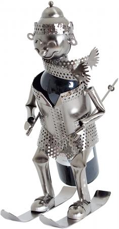 Suport Metalic pentru Sticla de Vin, model Skior, Capacitate 1 Sticla, Negru/Argintiu, H 34.5 x l 27cm0