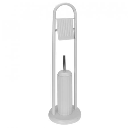 Suport metalic perie WC si hartie igienica, 20 cm x 80 cm, 2.3 kg, Alb0