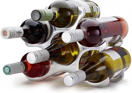 Suport modern de Sticle Vin, NAGO, Metal Cromat, capacitate 6 Sticle, H22cm L 28cm, G 0.88kg [5]