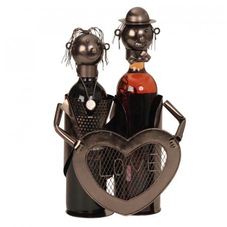 Suport modern de Sticle Vin, NAGO, model cuplu de indragostiti, cu inima LOVE, Metal Lucios, Maro/Negru, capacitate 2 Sticla, H 32 cm, I 24 cm2