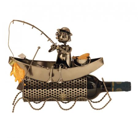 Suport modern de Sticle Vin, Pescar pe Barca, pescuind un Peste Auriu, Metal lucios, Maro/Negru, capacitate 1 Sticla, H 27 cm2