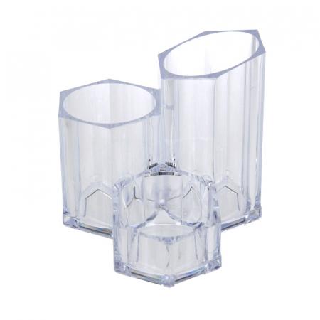 Suport Organizare cosmetice NAGO, 3 compartimente, Plexiglas, 14x14xH12 cm G237g, Transparent1