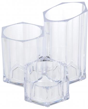 Suport Organizare cosmetice NAGO, 3 compartimente, Plexiglas, 14x14xH12 cm G237g, Transparent0