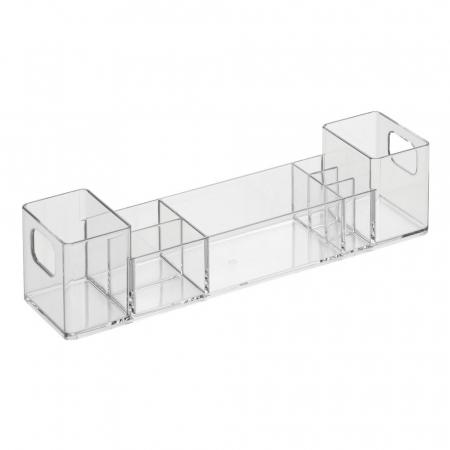 Suport organizare cosmetice, cu 8 compartimente, 30.5x7.8x7.5 cm, G 250g, Transparent0