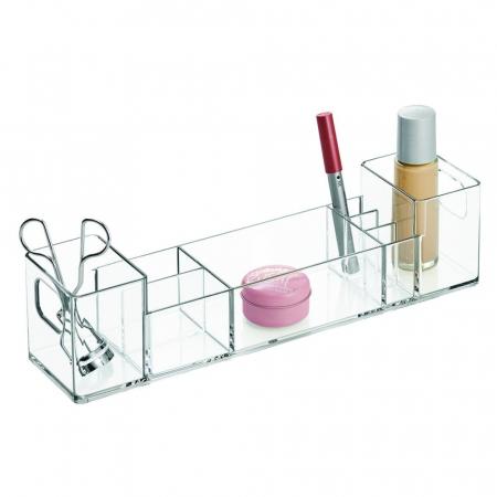 Suport organizare cosmetice, cu 8 compartimente, 30.5x7.8x7.5 cm, G 250g, Transparent1