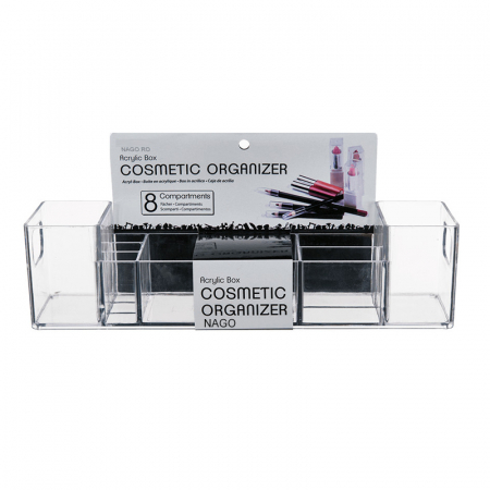 Suport organizare cosmetice, cu 8 compartimente, 30.5x7.8x7.5 cm, G 250g, Transparent3