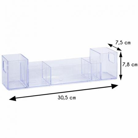 Suport organizare cosmetice, cu 8 compartimente, 30.5x7.8x7.5 cm, G 250g, Transparent4