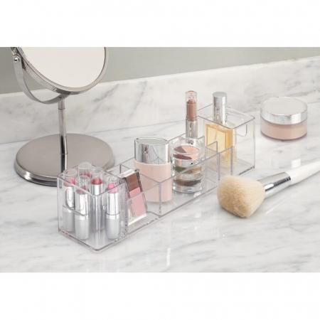 Suport organizare cosmetice, cu 8 compartimente, 30.5x7.8x7.5 cm, G 250g, Transparent2