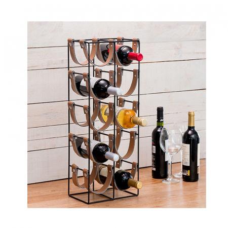 Suport pentru 10 Sticle de Vin, din metal si piele, 24x16x60cm2