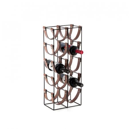 Suport pentru 10 Sticle de Vin, din metal si piele, 24x16x60cm1
