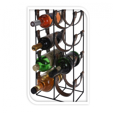 Suport pentru 10 Sticle de Vin, din metal si piele, 24x16x60cm10