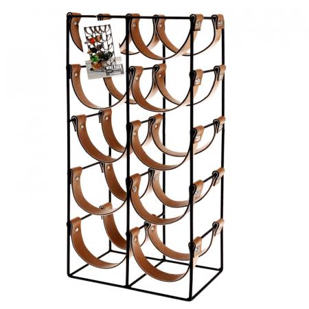 Suport pentru 10 Sticle de Vin, din metal si piele, 24x16x60cm0