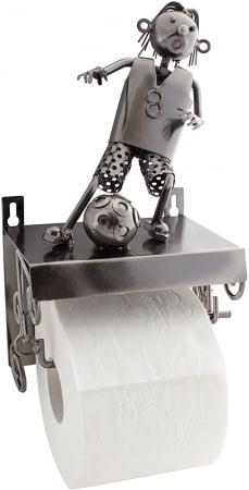 Suport pentru hartie igienica, din metal, model fotbalist, 28x15 cm2