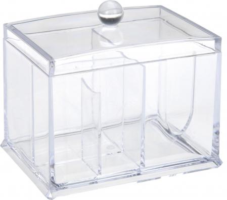 Suport compartimentat, pentru organizare cosmetice, NAGO®, Plexiglas, 15x11x12.5 cm, Transparent0