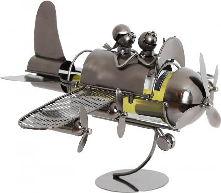 Suport pentru Sticla de Vin din Metal, model Avion, Capacitate 1 Sticla, Cupru, H30cm L 49 cm0