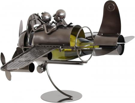 Suport pentru Sticla de Vin din Metal, model Avion, Capacitate 1 Sticla, Cupru, H30cm L 49 cm2