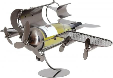 Suport pentru Sticla de Vin din Metal, model Avion, Capacitate 1 Sticla, Cupru, H30cm L 49 cm3