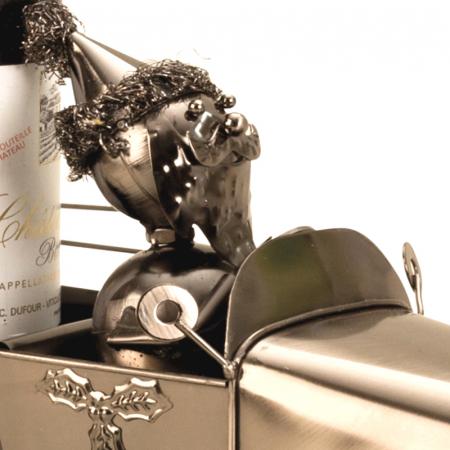 Suport pentru Sticla de Vin din Metal, model Masina cu Mos Craciun H24cm L 34cm [3]