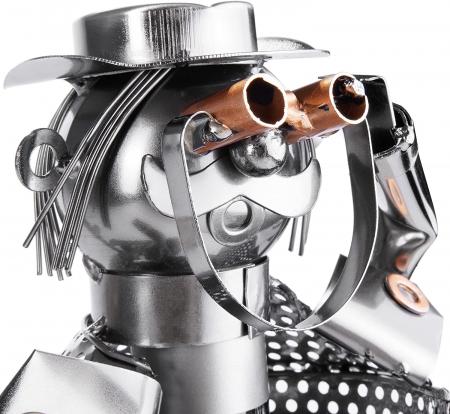 Suport pentru Sticla de Vin din Metal, model Vanator, Capacitate 1 Sticla, Cupru, H 32cm [2]
